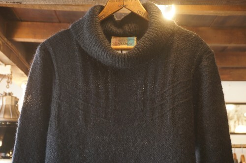 80's black mohair turtleneck Sweater made in Italy