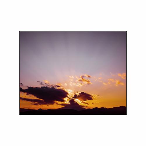 「富士山に沈む夕日」フォトパネル(W23×H18cm)