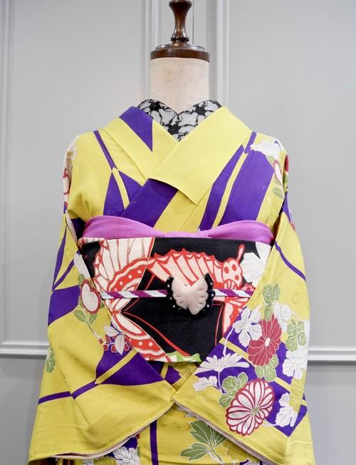 イエローに紫矢羽根と花丸 アンティーク小紋キモノ