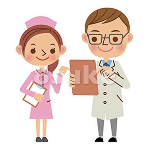 イラスト素材:バインダーを見ながら会話する医者と看護師(ベクター・JPG)