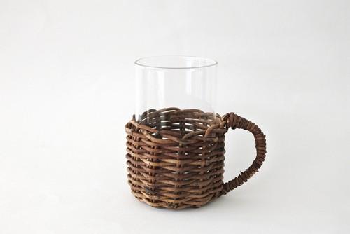 耐熱グラス+あけび編みホルダー(持ち手付き)