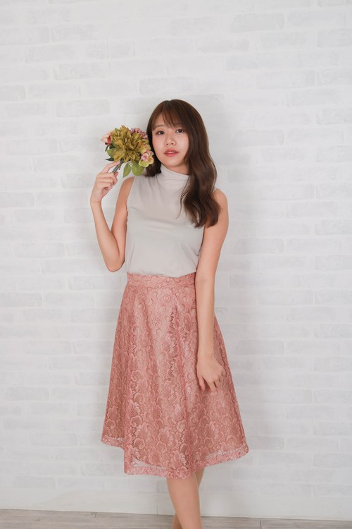 7sheets flare lace skirt PNK