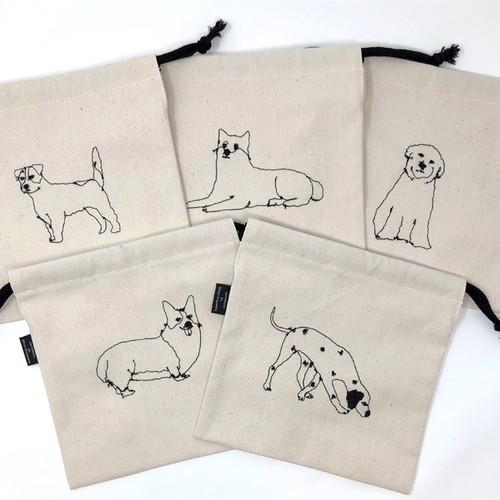 ミシン刺繍の巾着袋(犬) by sennokoto