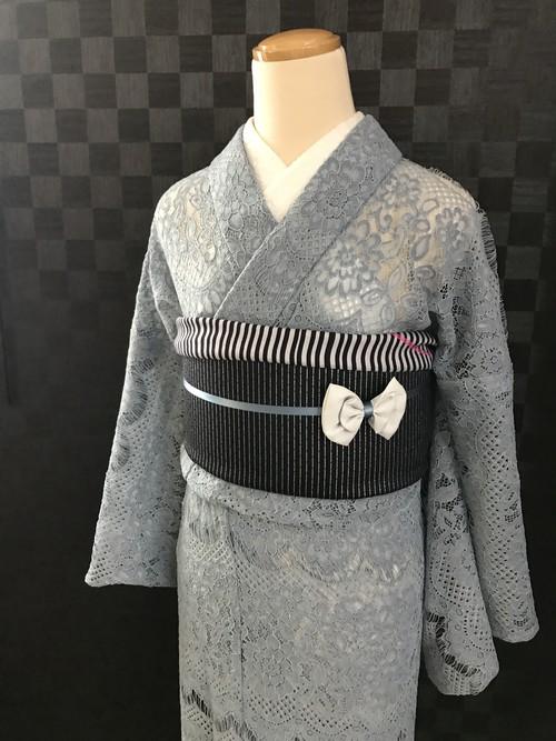 ブルーグレーのレース着物 (単衣)
