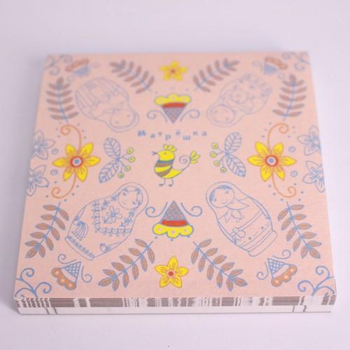 オリジナルメモ帳 マトリョーシカ・ピンク(デザイン・たかなしますみ)