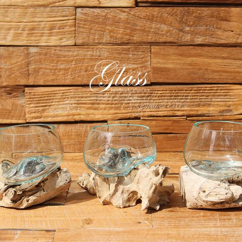 ■当日出荷■吹きガラスと木のオブジェ Tiny g08 アソート ポプリ、フラワーフロート、キャンドルフロート