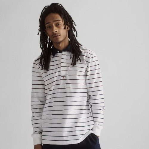 Multi-Color Striped Rugby(White/Harvard/Navy)