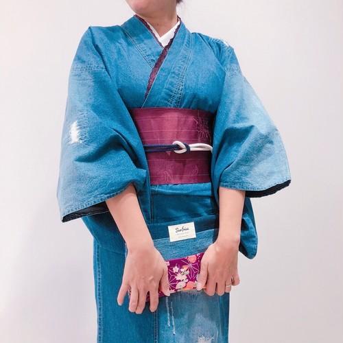 和柄デニムクラッチ - 菫