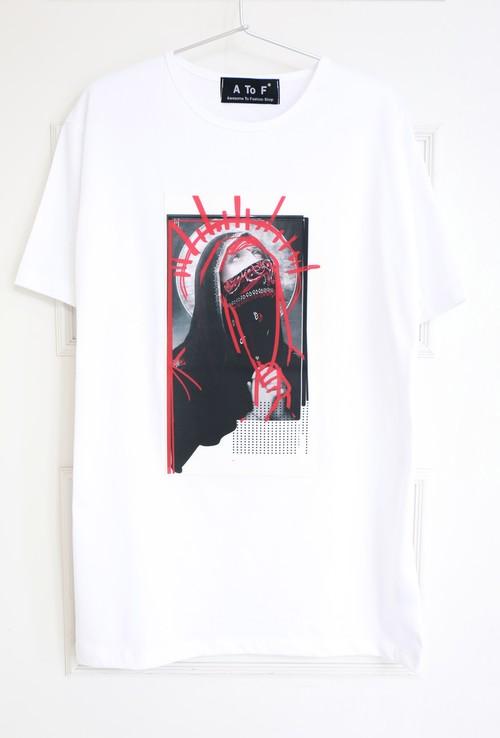 【MEN】White Print Tee