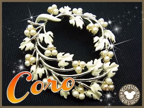 CORO★Fベビーパール ホワイトエナメルヴィンテージリースブローチ