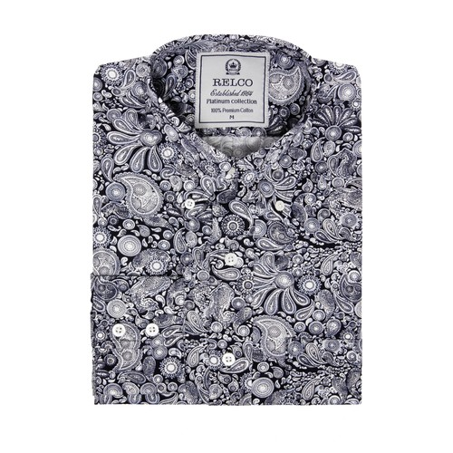 Relco London | Button Down Monochrome Paisley Shirt