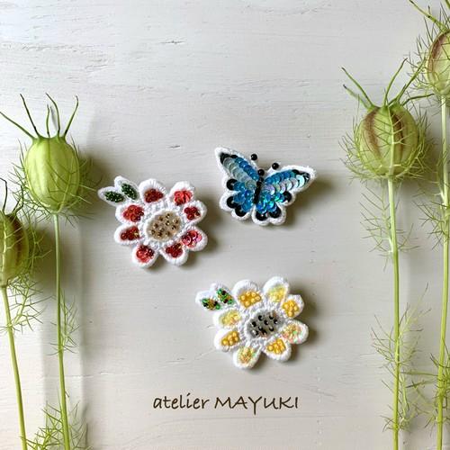 plantミニブローチシリーズ (フラワー赤・フラワー黄色・青い蝶)