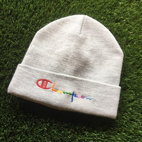 【KITH NYC×CHAMPION】 -キス-MULTI COLOR LOGO BEANIE HEATHER GREY