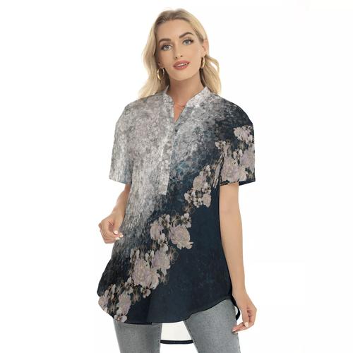 華と蝶 ブルーホワイト ゆるフィットロングシャツ 半袖