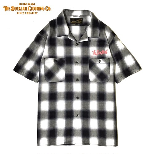 """DUCKTAIL CLOTHING SHORT SLEEVE OPEN COLLAR CHECK SHIRTS """"UNRIPE"""" WHITE ダックテイル クロージング 半袖 チェックシャツ"""