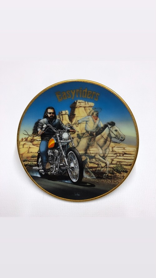 90's 超レア ビンテージ ©1998 Easyriders Collector Plate 絵皿プレート① GHOST OF THE WEST-David Mann