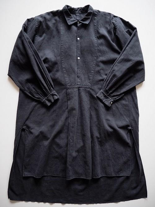 【フランス】 アンティークリネンスモックシャツワンピース [染物/墨黒色]
