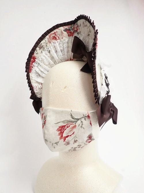 マスク一体型フリルボンネット クラシカルクリームホワイト