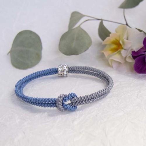 ◍mu su fu絹組紐のバングル(blue×grey) Mサイズ