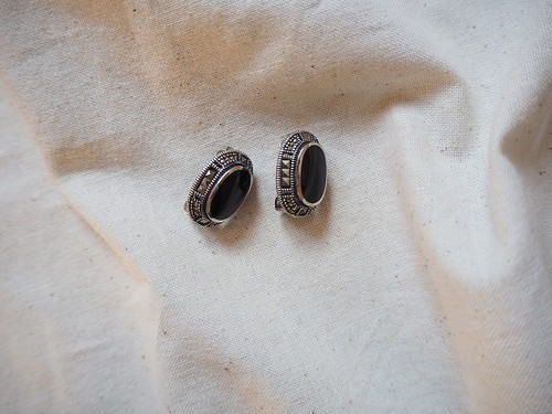 <vinatge silver925> onyx clip earrings
