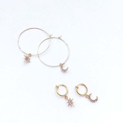 Star & Moon hoop pierce(&earring)
