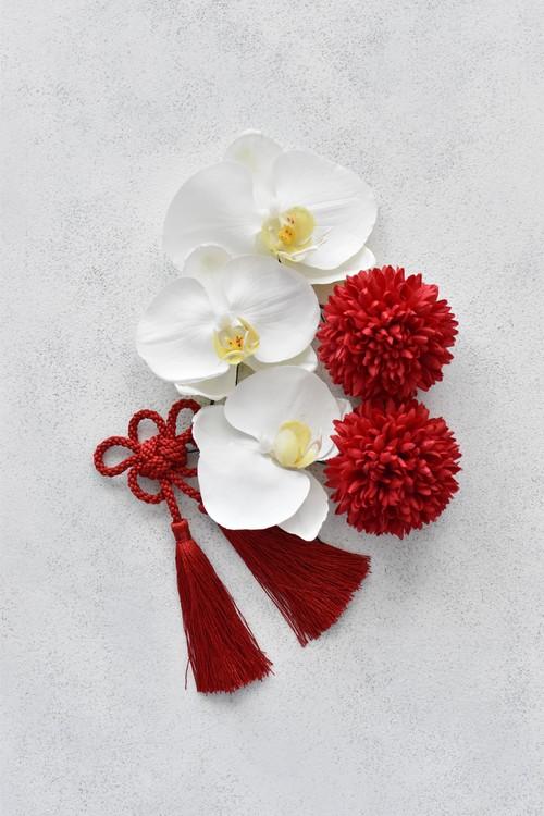 お花のタッセル付き!白無垢に似合うヘッドアクセ 着物の髪飾り