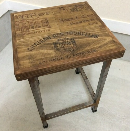 Wine Old wood side table 受注製作