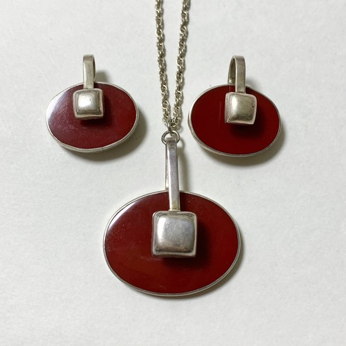 Vintage 925 Silver & Agate Pendant Necklace & Pirced Earrings Made In Mexico