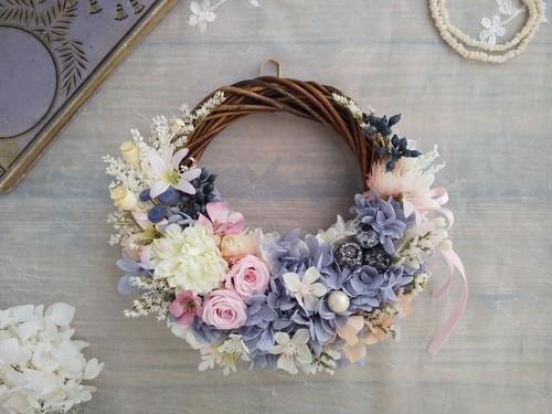 Lune Bonheur<rose pastel>*ハーフムーンリース*プリザーブドフラワー*リース*お花*ギフト*母の日*結婚祝い*新築祝い*お誕生日祝い*フラワーギフト