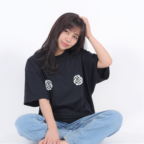 ROSE Oversize T-shirt(ブラック)