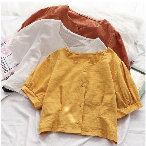 レディース オシャレ OL シンプル スクエアネック ふんわり袖 新作 合わせやすい ブラウス・トップス