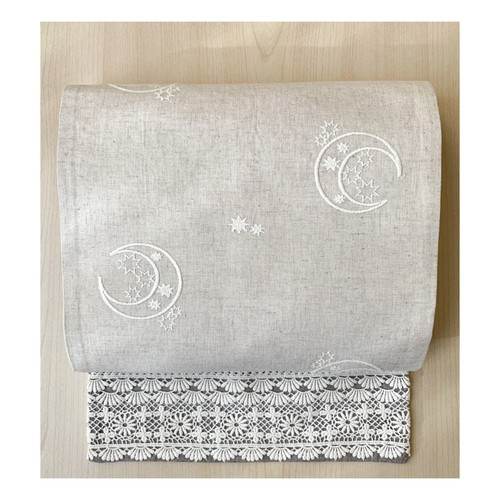 eco帯-月の刺繍とレースの八寸名古屋帯-