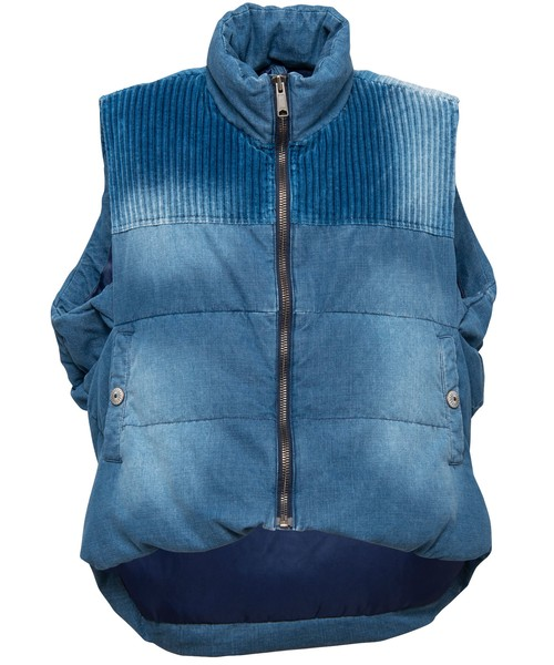 VINTAGE DENIM BIG DOWN VEST[REJ035]