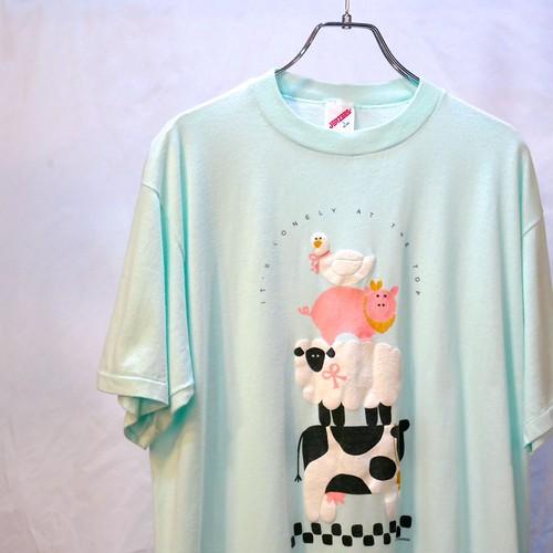 【USED】80's アニマルプリント Tシャツ ミントグリーン
