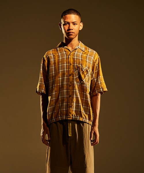 Gather SS Shirt -camel check <LSD-BJ1S3>