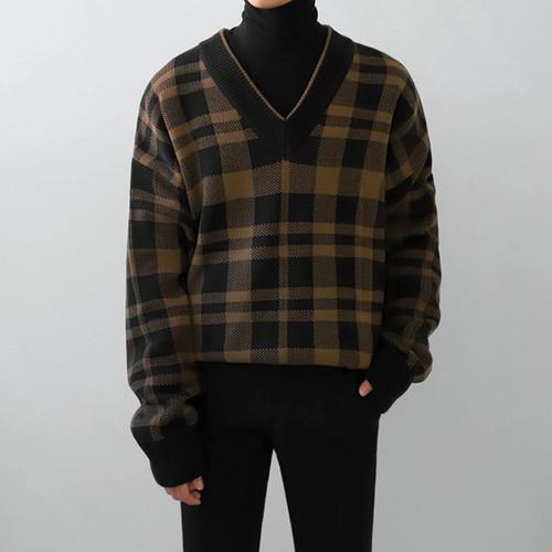 Vネックチェックセーター BL7167