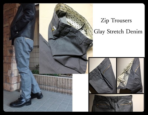Mens, Zipデニムトラウザーズ  (グレーデニム) 日本製 クロキデニム使用 ジーンズ