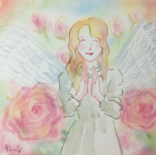 微笑む天使~やはらかな華やぎ~*SSMサイズ*水彩&パステル混合技法*木製パネル張り
