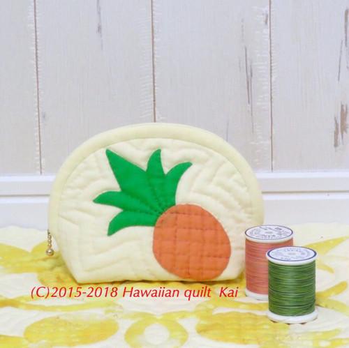ハワイアンキルトで作るパイナップルのポーチ。Kai オリジナルキットで作ってみませんか?初心者さんから大丈夫です♡