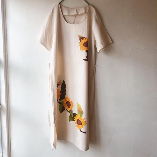 80s USA vintage hand painted 'sunflower' linen dress