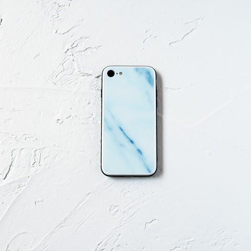 ガラス ブルーマーブル スマホケース