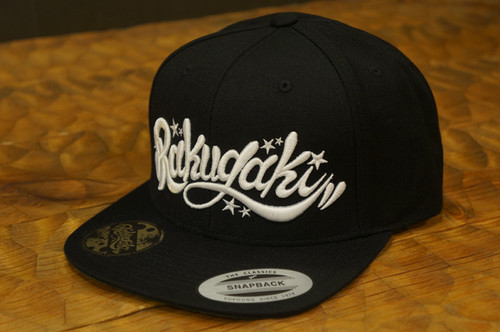 RAKUGAKI Main logo Snap Back Cap Black x White