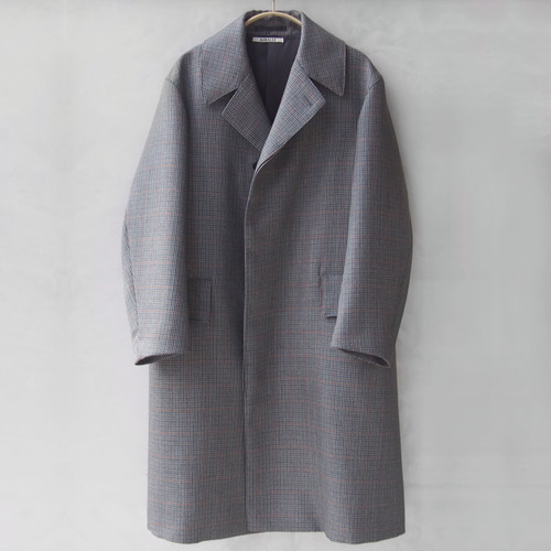 AURALEE DOUBLE FACE CHECK LONG COAT CHARCOAL GUNCLUB CHECK