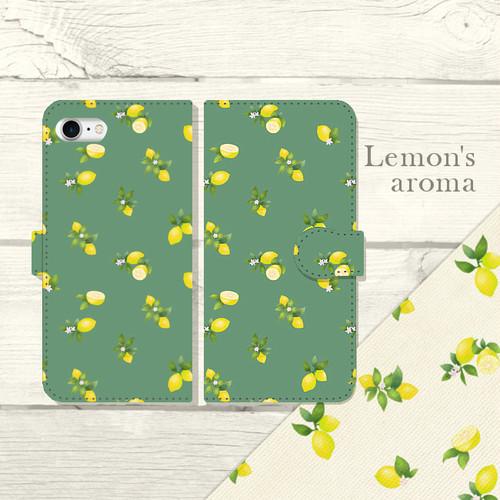 """水彩調 レモンパターン """" Lemon's aroma """" グリーン 手帳型スマホケース iPhone/Android"""