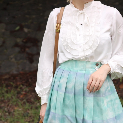 USA VINTAGE PEARL BUTTON FRILL BLOUSE/アメリカ古着パールボタンフリルブラウス