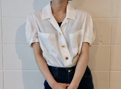 CHANEL puff sleeve white blouse