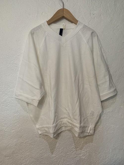 Chloro sister/リコット天竺ラグランvネックTシャツ ホワイト
