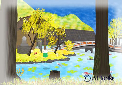 『秋の穂見諏訪十五所神社』 ~グラフィックアートTiki&Puffyシリーズ~ 【清春旅と空想の美術館】