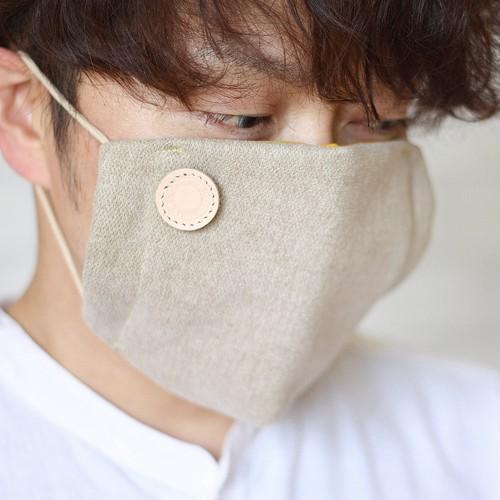 手作りマスクで、見えない口元も優しくデザイン!?オシャレ可愛いファッションマスク/アウターマスク(ベージュ)※送料無料