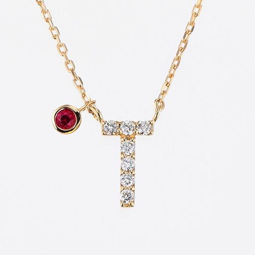 Initial K18YG Diamond【T】Pendant Necklace with Charm (ダイヤモンド イニシャル【T】ペンダントネックレス チャーム付き)